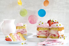 Homemade strawberry cake with fresh cheese cream Stock Image