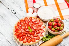 Homemade Strawberry cake Stock Images
