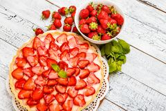 Homemade Strawberry cake Stock Photography