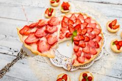 Homemade Strawberry cake Royalty Free Stock Photography
