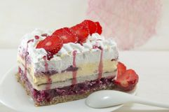 Homemade strawberry cake with whipped cream Stock Photo