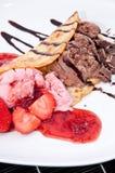 Homemade Strawberry and Chocolate Ice Cream Stock Photo