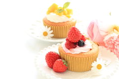 Homemade strawberry cup cake with cream. On pink dish with copy space Stock Photography