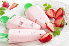 Homemade strawberry ice cream. With fresh berries Royalty Free Stock Photo