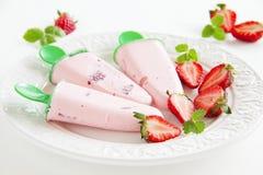 Homemade strawberry ice cream Stock Photos