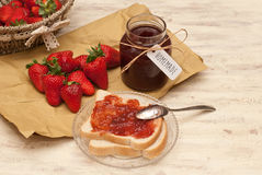 Homemade strawberry jam. And bread Royalty Free Stock Images