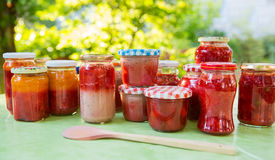 Homemade strawberry jam in different jars Royalty Free Stock Photos