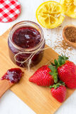 Homemade Strawberry Jam. Easy to make homemade strawberry jam with brown sugar and no artificial preservatives Stock Photo