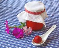 Homemade strawberry jam and fresh strawberries Stock Photos