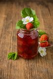 Homemade strawberry jam in a glass Royalty Free Stock Image