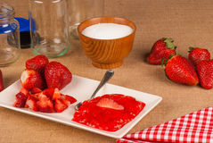 Homemade strawberry jam and ingredients Stock Photo