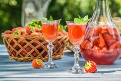 Homemade strawberry liqueur served in the garden Royalty Free Stock Image