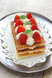Homemade strawberry millefeuille, French pastry Royalty Free Stock Image