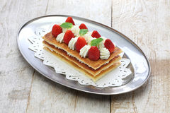 Homemade strawberry millefeuille, French pastry Stock Photos