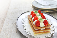 Homemade strawberry millefeuille, French pastry Stock Photography