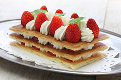 Homemade strawberry millefeuille, French pastry Stock Image