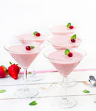 Homemade strawberry mousse Stock Photo