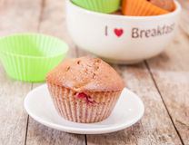Homemade strawberry and orange muffins Royalty Free Stock Photo