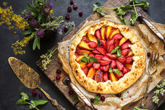 Homemade strawberry pie. Biscuit with fresh strawberries and ber Stock Image