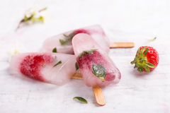 Homemade strawberry popsicle stick Royalty Free Stock Photography