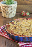 Homemade strawberry rhubarb pie. With crumble topping Stock Image