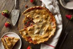 Homemade Strawberry Rhubarb Pie Stock Photography