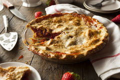 Homemade Strawberry Rhubarb Pie Royalty Free Stock Photography
