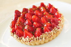 Homemade strawberry tart with cream cheese and mint closeup. Strawberry cake,strawberry tart. homemade strawberry tart with cream cheese and mint closeup Royalty Free Stock Photo