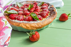 Homemade strawberry tart. Direct view Stock Photography