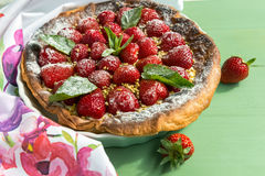 Homemade strawberry tart. Direct view Royalty Free Stock Image