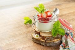 Homemade strawberry yogurt with fresh wild Royalty Free Stock Photo