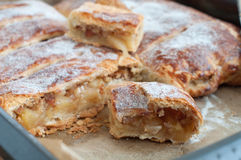 Homemade Strudel cakes on baking pan Royalty Free Stock Photography