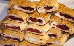 Homemade strudel filling with  sour cherry and cottage chees cre Stock Photo