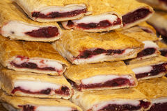 Homemade strudel filling with  sour cherry and cottage cheese cr Royalty Free Stock Image