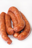 Homemade stuffed sausage on the white background Royalty Free Stock Photography