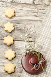 Homemade sugar cookies and flowers, background for  greeting card Stock Photos