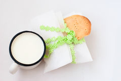 Homemade sugar cookies and a mug of milk Royalty Free Stock Photo