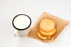 Homemade sugar cookies and a mug of milk Royalty Free Stock Photography