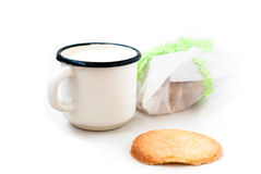 Homemade sugar cookies and a mug of milk Royalty Free Stock Photos