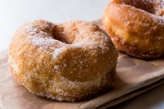 Homemade Sugared Donuts Ready to Eat. FastFood royalty free stock images