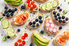 Homemade summer toast with cream cheese Smoked Salmon, Blueberries, Radish, Cucumber, Avocado and cress salad. Fresh. Healthy concept food Royalty Free Stock Photo