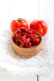 Homemade sun dried tomatoes. In a wooden bowl Stock Images