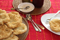 Homemade Sunday mornig breakfast. Homemade elephant ears. Sunday morning breakfast Stock Images