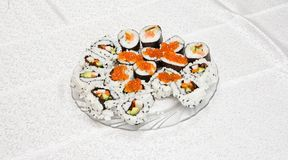 Homemade sushi with red caviar on Royalty Free Stock Image