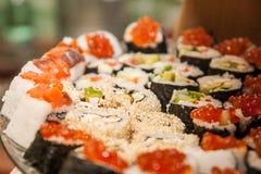 Homemade sushi rolls close up Royalty Free Stock Image