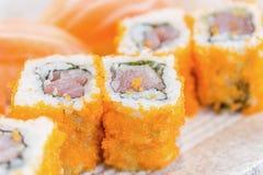 Homemade sushi with salmon, cream cheese Philadelphia, Japanese Stock Photo
