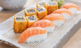 Homemade sushi with salmon, cream cheese Philadelphia, Japanese Stock Image