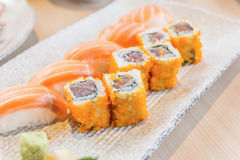 Homemade sushi with salmon, cream cheese Philadelphia, Japanese Stock Photo