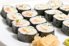 Homemade sushi in a white plate with wasabi and Stock Photo