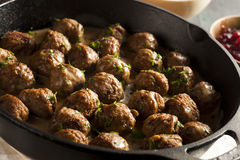 Homemade Swedish Meatballs with Cream Sauce Stock Photo